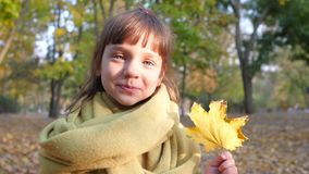Het portret van weinig glimlachend meisje met geel blad in haar dient de herfstpark in stock videobeelden