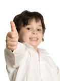 Het portret van weinig jongen met grote vinger royalty-vrije stock afbeeldingen