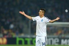 Het portret van Yevhenkhacheridi met handen omhoog, de Ligaronde van UEFA Europa van 16 tweede beengelijke tussen Dynamo en Evert Stock Fotografie