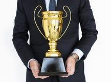 Het Portretconcept van zakenmancelebrate trophy success royalty-vrije stock fotografie