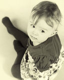 Het portretsepia van het babymeisje Stock Foto