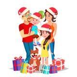 Het Portretvector van de Kerstmisfamilie Ouders, Kinderen gelukkig Nieuwe jaargiften Traditionele gebeurtenis Affiche, Reclame stock illustratie
