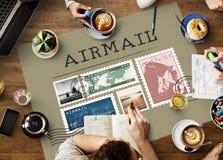 Het postconcept van de het Pakketzegel van de Portpost Stock Fotografie