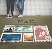 Het postconcept van de het Pakketzegel van de Portpost Stock Foto's