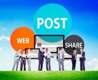 Het postwebaandeel kondigt aan de Herinneringslijst Concept herinnert Stock Fotografie