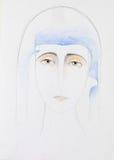 Het getrokken portret van het potlood hand van Moeder Mary Royalty-vrije Stock Fotografie