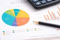 Het potlood van de bedrijfsrapportcalculator royalty-vrije stock afbeelding