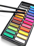 Het potlood van de de pastelkleurenhoutskool van de kunstenaar Stock Foto's