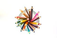 Het potlood van de kleur in glas Stock Foto
