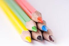 Het potlood van de kleur op een witte achtergrond Lijnen van potloden Het concept van het onderwijs Stock Foto