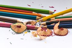 Het potlood van de kleur op witte achtergrond Stock Fotografie