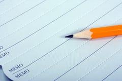 Het potlood van het memorandum royalty-vrije stock afbeelding