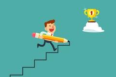 Het potlood van het zakenmangebruik om trede aan succes te creëren Stock Fotografie