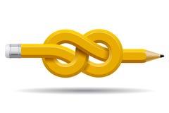Het potlood vervormde en bond een knoop vast op wit wordt geïsoleerd dat Royalty-vrije Stock Foto