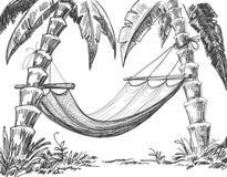 Het potloodtekening van de hangmat Royalty-vrije Stock Afbeeldingen