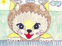 Het potloodtekening van het kind Royalty-vrije Stock Afbeelding