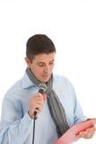 Het praatje toont gastheer of organisator gebruikend een microfoon stock fotografie