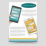 Het praatjebot verbonden vlieger van het brochuremalplaatje stock illustratie