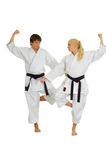 Het praktizeren Karate stock fotografie