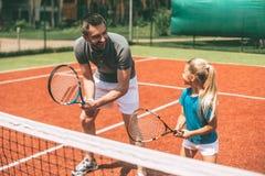 Het praktizeren tennis royalty-vrije stock foto's