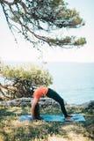 Het praktizeren van de vrouw yoga stock afbeelding
