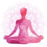 Het praktizeren yoga, ontspanning en meditatie Waterverfsilhouet Royalty-vrije Stock Foto