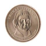 Het Presidential Dollar muntstuk van Thomas Jefferson stock foto