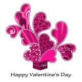 Het pressent roze van de valentijnskaart Stock Foto
