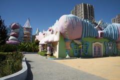 Het pretpark, moderne architectuur Royalty-vrije Stock Foto's