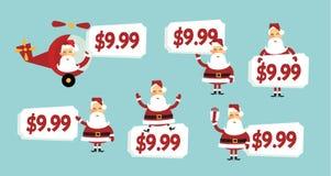 Het prijskaartje van de kerstman Stock Afbeelding