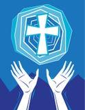 Het Prijzen en het Kruis van handen in Hemel Stock Foto