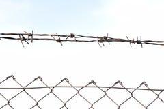 Het prikkeldraad in twee rijen als bescherming tegen onbevoegde ingang in privé grondgebied royalty-vrije stock afbeelding