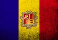 Het Prinsdom van de Vallei van de nationale vlag van Andorra met wapenschild Kan als prentbriefkaar worden gebruikt vector illustratie