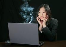 Het probleem van de computer voor Aziatisch meisje Royalty-vrije Stock Foto