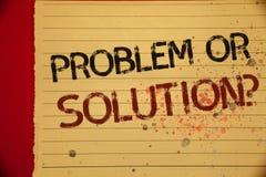 Het Probleem van de handschrifttekst of Oplossingsvraag De conceptenbetekenis denkt Analyse oplos die pagina van de Conclusie de  stock foto
