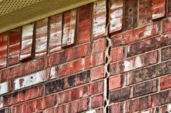 Het probleem van de stichting aangaande bakstenen muur Stock Afbeeldingen