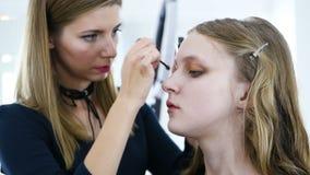 Het proces om make-up op het gezichtsmodel toe te passen Poeder, oogschaduw, borstel voor het toepassen van make-up Het hoofdgezi stock video