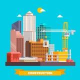 Het proces van het de bouwwerk met huizen en bouwmachines stock illustratie