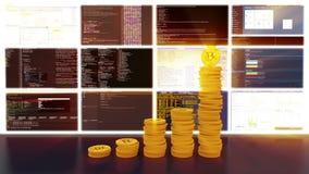 Het proces van mijnbouw bitcoins, rood glanst, lijn stock footage