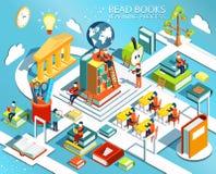 Het proces van onderwijs, het concept het leren van en het lezen van boeken in de bibliotheek en in het klaslokaal Stock Fotografie