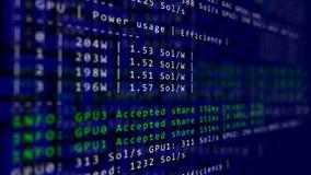 Het het procesprogramma van mijnbouwcryptocurrency over vertoningspc die codesoftware gebruiken keurde het delen van virtuele geg stock footage