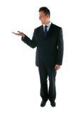 Het productplaatsing van de zakenman. royalty-vrije stock afbeeldingen