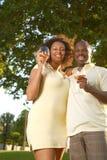 Het proeven van de wijn in het park Royalty-vrije Stock Afbeeldingen