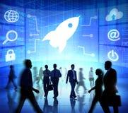 Het Professionele Concept van Rocket Success Growth Team Teamwork Royalty-vrije Stock Foto's