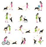 Het professionele hond lopen Stock Afbeeldingen