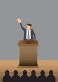 Het professionele Mens Openbare Spreken bij Lessenaar Vectorillustratie Royalty-vrije Stock Afbeeldingen