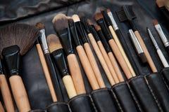 Het professionele vastgestelde close-up van de make-upborstel Royalty-vrije Stock Afbeelding