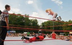 Het professionele worstelen Stock Foto