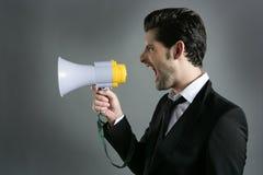 Het profiel van de de zakenmanmegafoon van de megafoon het schreeuwen royalty-vrije stock afbeelding