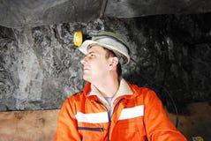 Het profiel van de mijnwerker stock foto